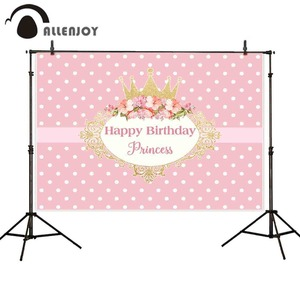 Image 1 - Allenjoy photography backdrops crown princess pink birthday party flower frame background new photocall photobooth