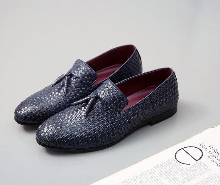 Кожаные тканые туфли; мужские оксфорды с острым носком; модельные туфли; мужские итальянские лоферы; официальная Свадебная обувь; zapatos hombre; повседневная обувь - Цвет: 3