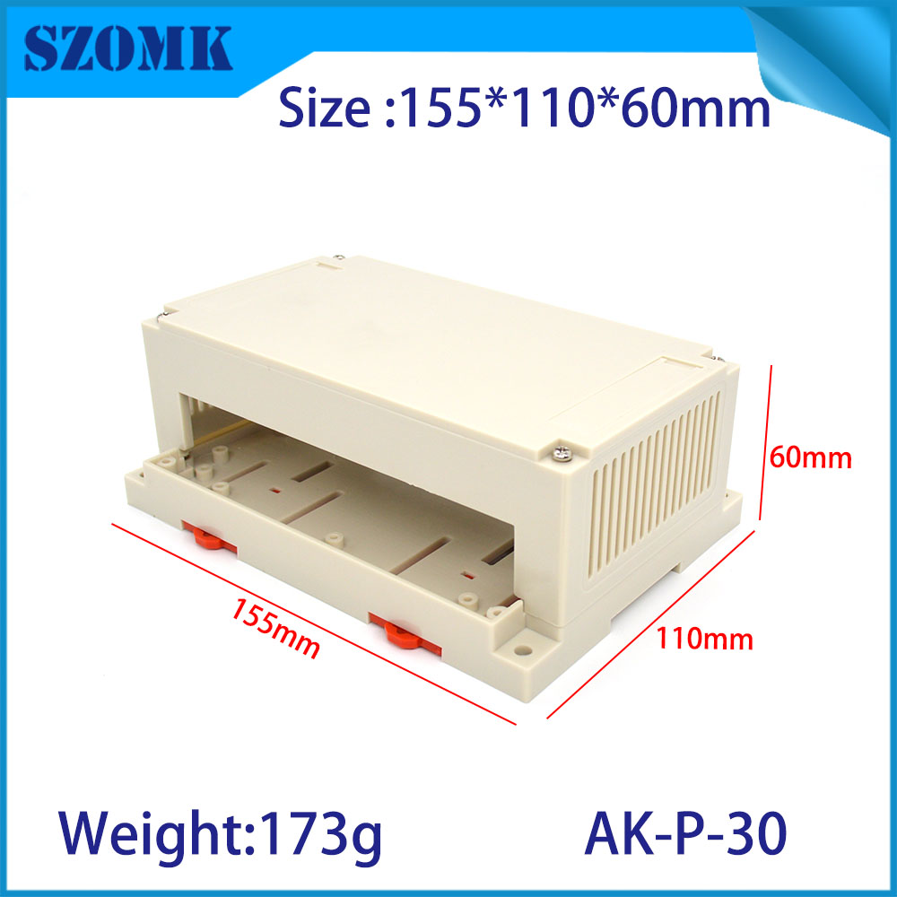 10 pcs 155 110 60mm szomk PLC rail din plastic box for electrical plastic instrument casing