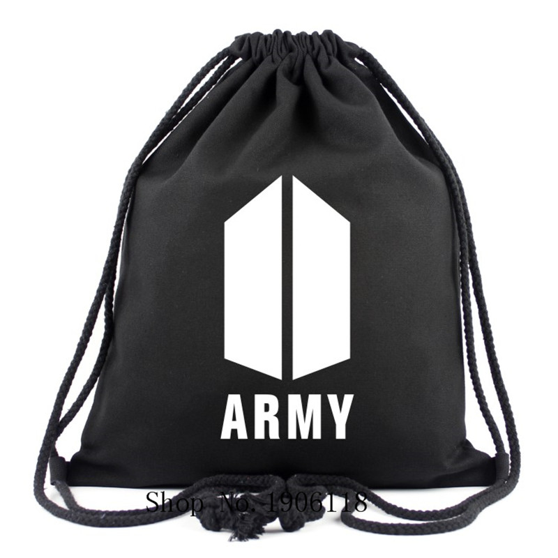 Korean Kpop BTS Bangtan Boys 2017 New Logo ARMY Letter Canvas Drawstring Bags School Backpack Colors Travelling Bag Fans Gifts