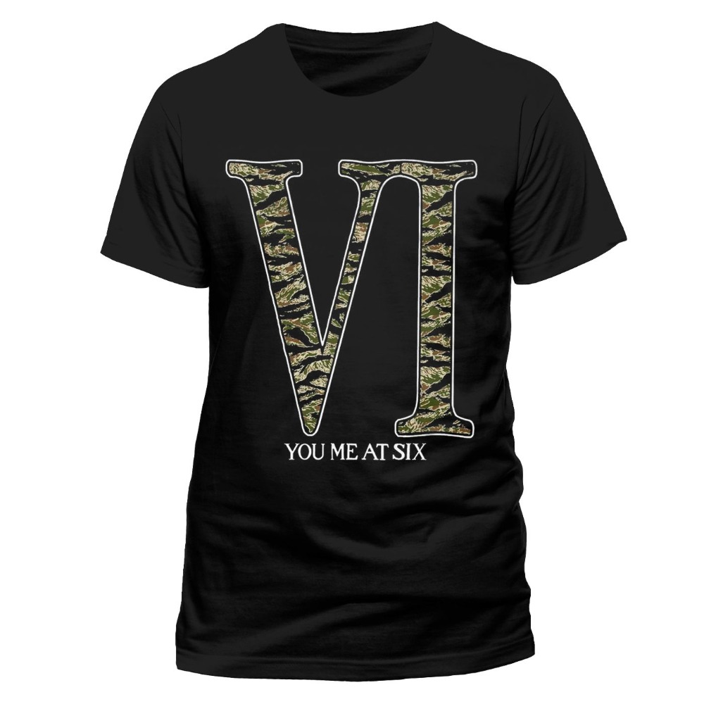 Fashion 2018 Summer You Me At Six Mens T-Shirt Top Licensed Merchandise Camo Logo XXL Summer Casual Clothing