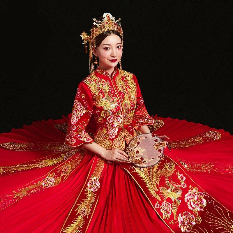 Красный невесты cheongsam Винтаж китайский стиль свадебное вечернее платье костюмы Вышивка Феникс костюм Ципао Vestidos размеры S XXXL