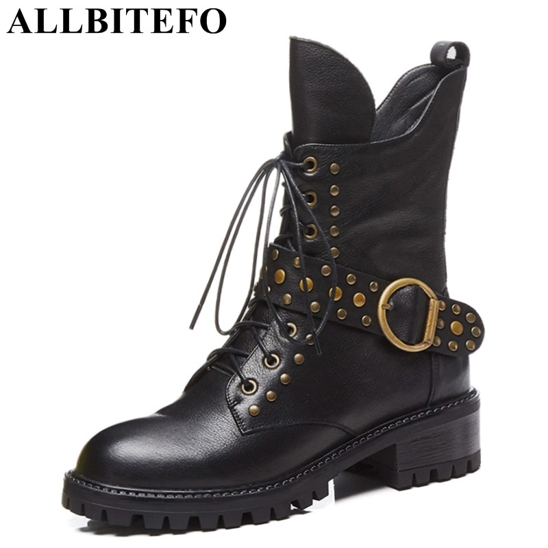 ALLBITEFO natural genuine leather women martin boots rivets buckle design fashion sexy girls ankle boots motorcycle boots shoes allbitefo natural genuine leather snake texture cow leather women ankle boots fashion sexy motorcycle boots girls winter shoes