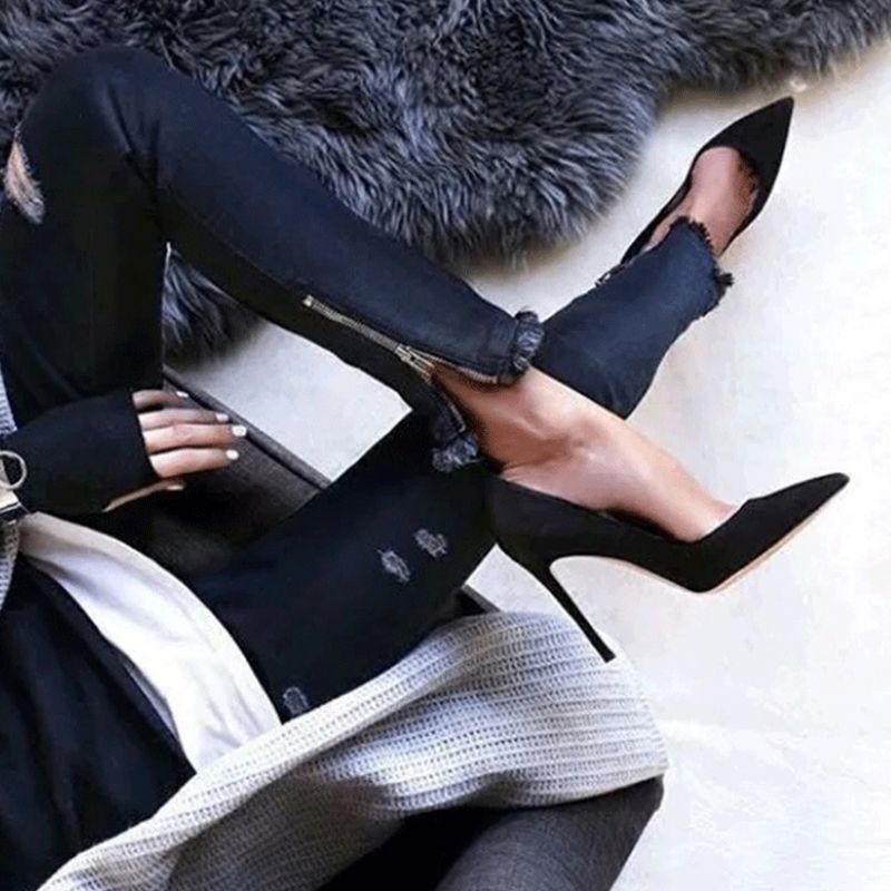 ФОТО Spring New 2017Designer Femmes Chaussures Faux Suede Sexy Stilettos Pumps Women Pointed Toe High Heels Wedding Dress Shoes Woman
