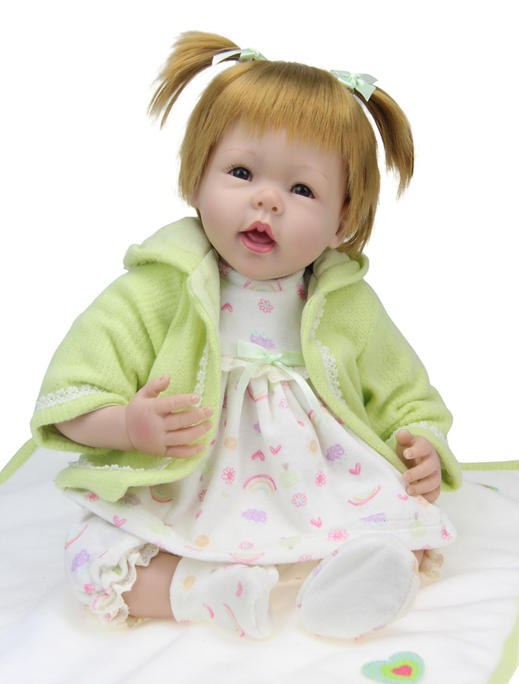 55CM Soft Silicone Reborn Dolls Lifelike Vinyl Handmade Reborn Babe Dolls with golden hair Bonecas Toys Girls Xmas Gifts