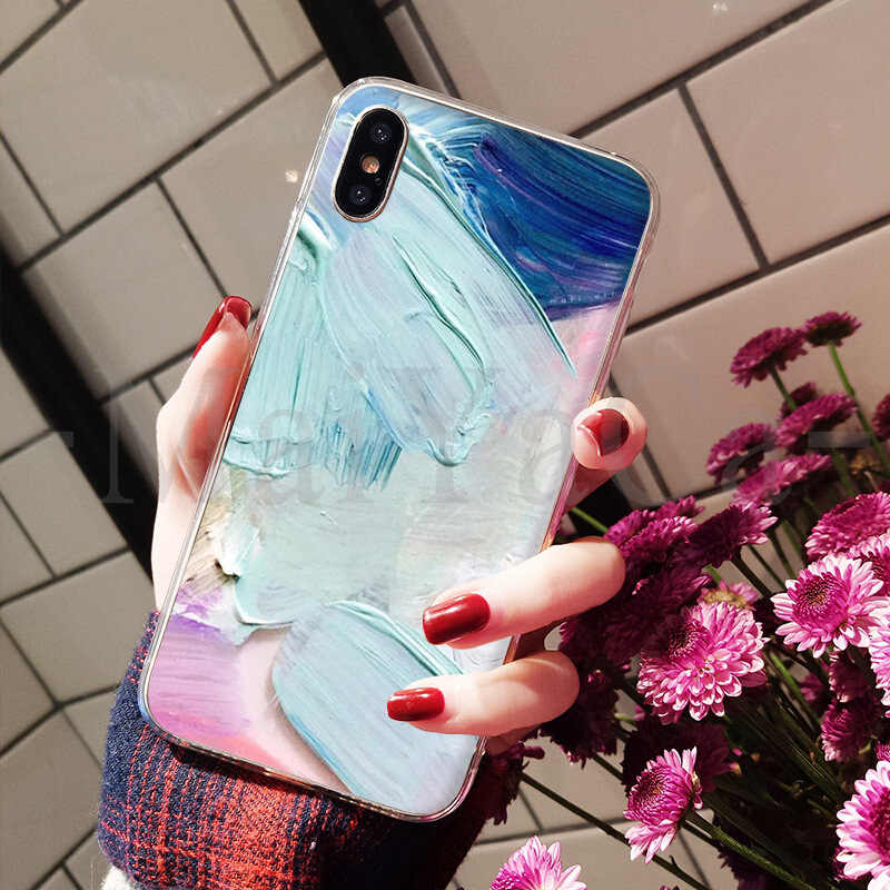 MaiYaCa シンプルなアート色塗装ペイント顔料 2018 色の描画電話ケース iphone 8 7 6 6S プラス X XS 最大 5 5S 、 SE XR