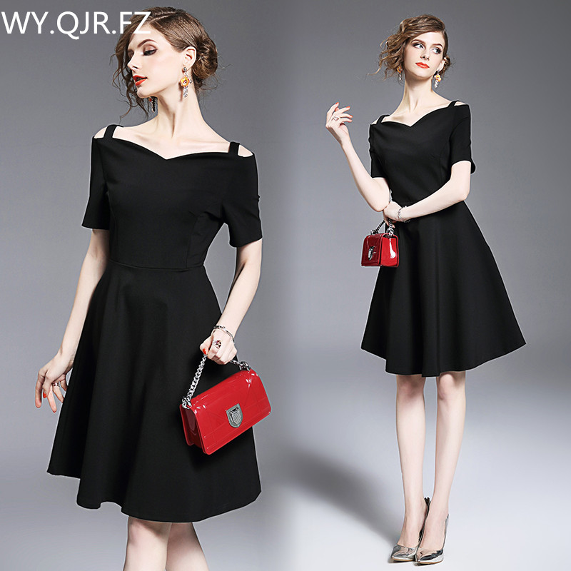 HLXD8109#Spaghetti Straps Off collar short Evening Dresses black wedding party prom dress 2019 new wholesale women clothing girl