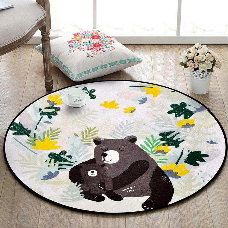 Tapis rond d'animal de bande dessinée pour des couvertures et des tapis de chaise d'ordinateur de salon - 2