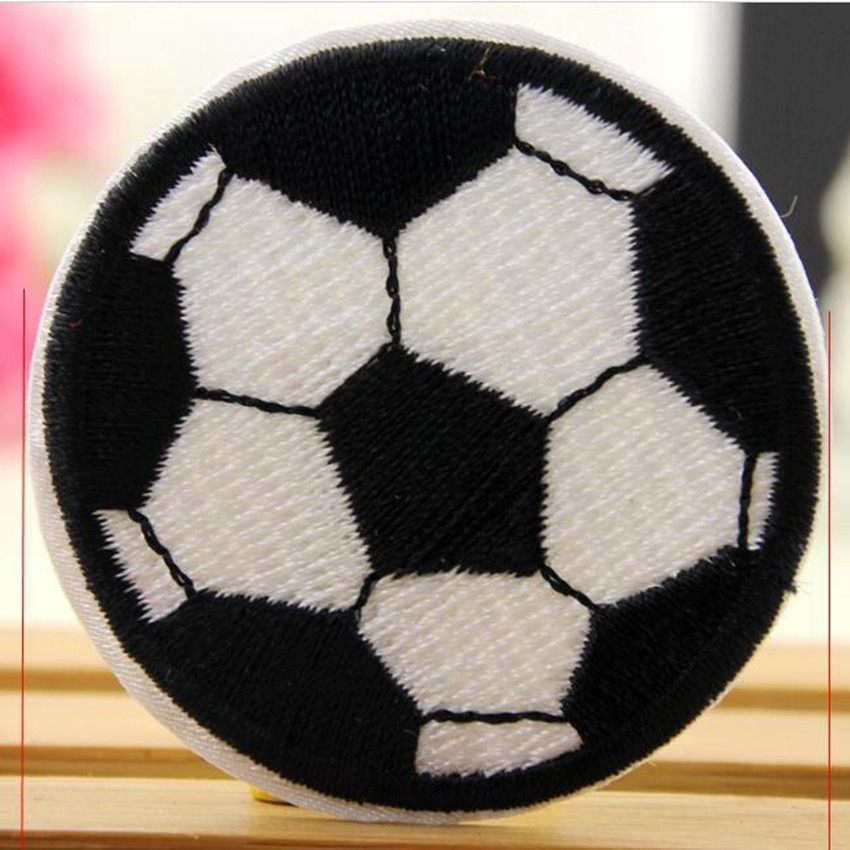 100PCS Cartoon Football iron on Patches Kids Embroidered Biker Vest Cloth Patch Applique Badge Sewing Supplies Wholesale