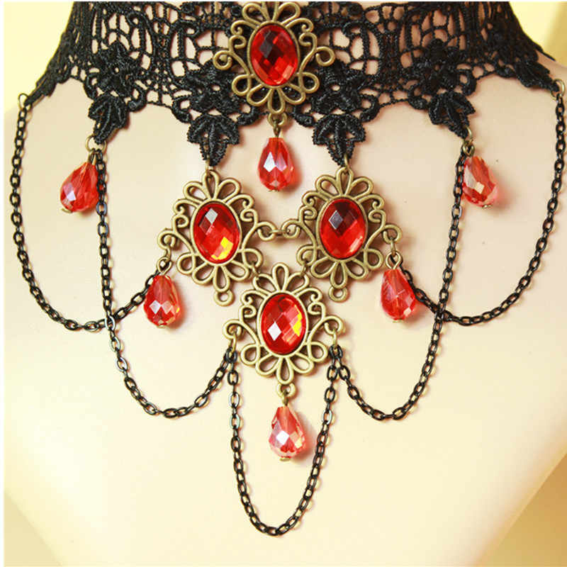 2018 Hot Sale High Quality Crystal Lace Necklace Gothic Tassel Necklace Vampire Red Crystal Necklace Fashion girl gift