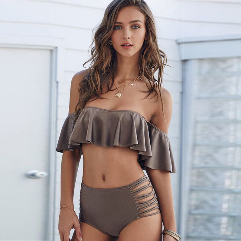2019 <font><b>Sexy</b></font> <font><b>Bikini</b></font> <font><b>Sets</b></font> <font><b>Women</b></font> Swimsuit omg <font><b>bandage</b></font> Ruffles Strapless High Waist <font><b>Swimwear</b></font> Summer Beachwear <font><b>Swimming</b></font> Suit Dropship image