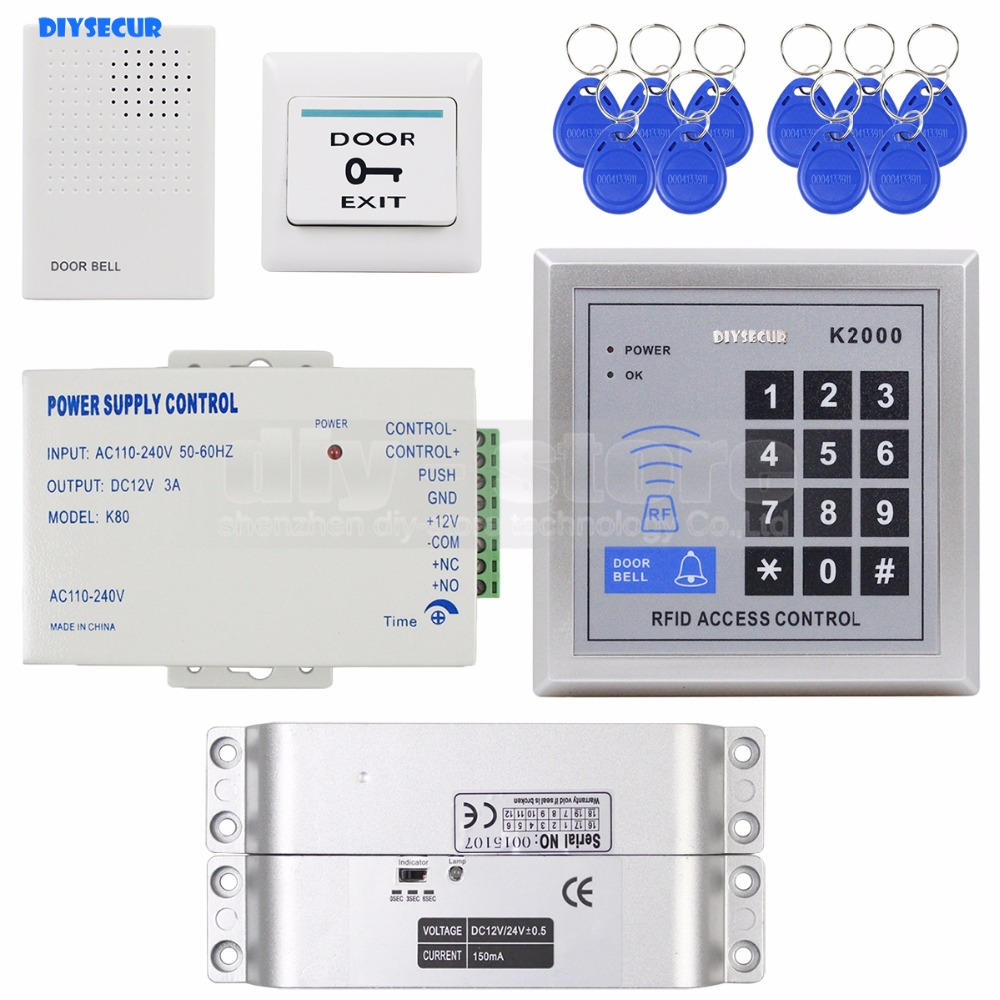 DIYSECUR 125KHz RFID Password Keypad Access Control Security System Full Kit Set Electric Drop Bolt Lock Electric Mortise Lock diysecur electric bolt lock 125khz rfid password keypad access control system security kit door lock remote control ks158