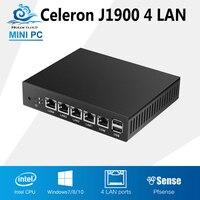 Tablet Fanless Mini Pc J1900 Quad Core 4 LAN Router Windows 7 8 10 HTPC HD