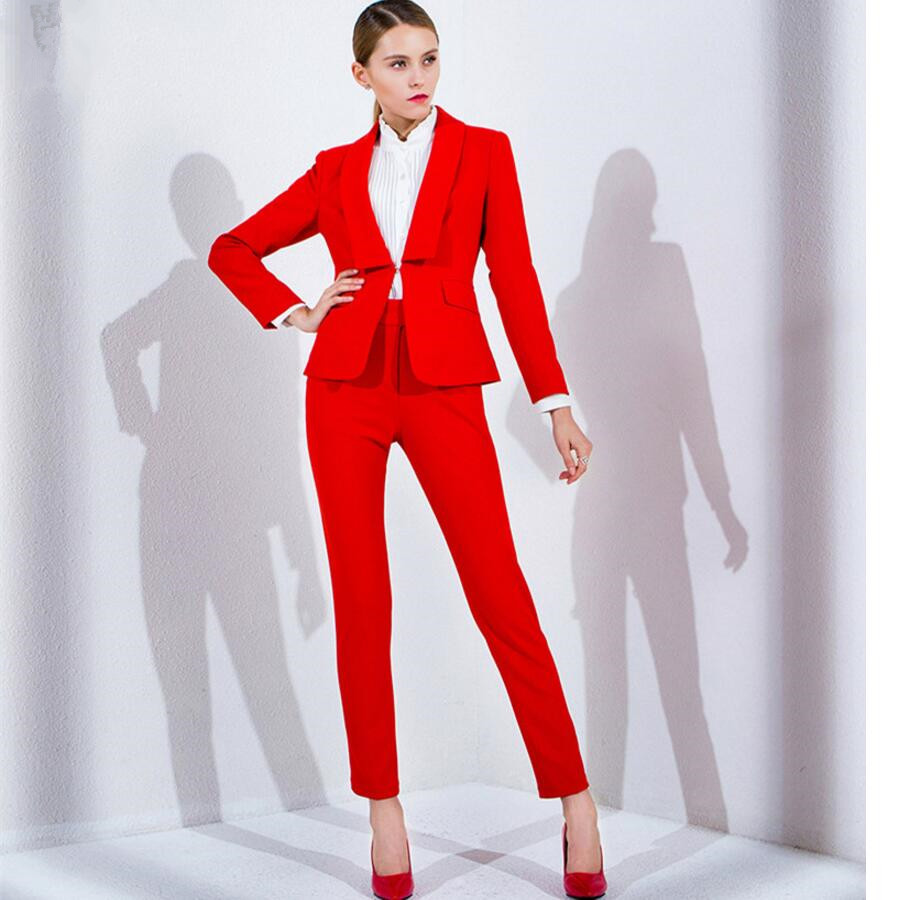 Women Pant Suits Red Work Bussiness Formal Elegant 2 Piece Set ...