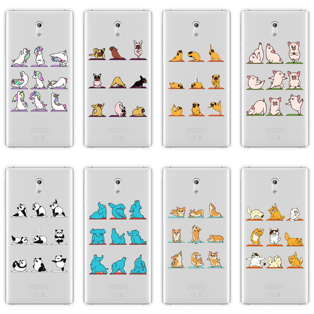 TPU Yoga Pig Pug Corgi <font><b>Dog</b></font> Cat Unicorn Panda Phone <font><b>Case</b></font> For <font><b>Nokia</b></font> 1 2 <font><b>3</b></font> 5 6 8 Soft Silicone Back Cover For <font><b>Nokia</b></font> X6 7 Plus image