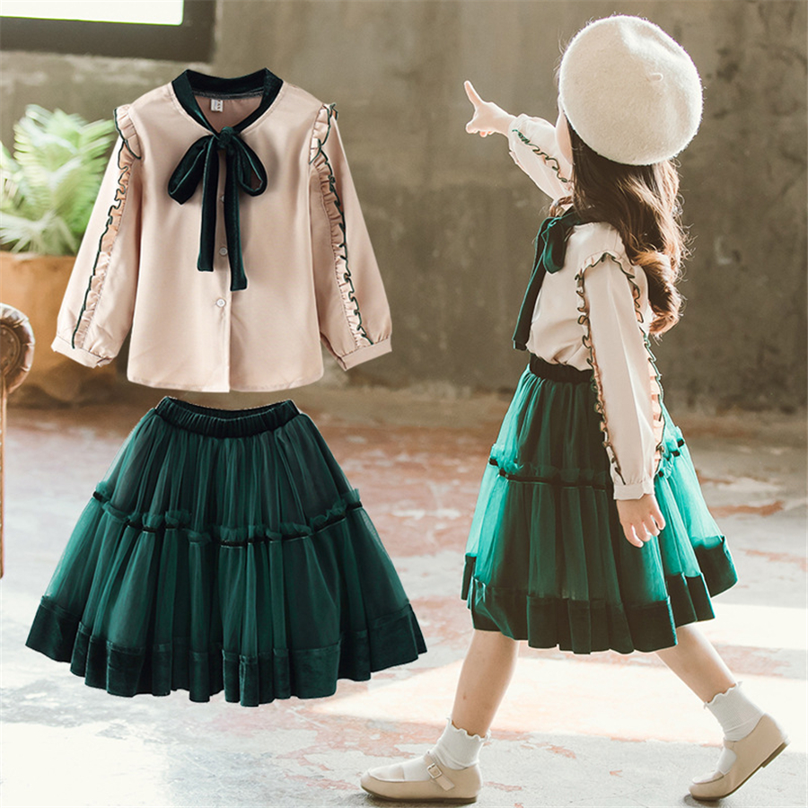 Designer boutique kids clothing <font><b>girls</b></font> outfits 2 pieces full sleeve blouse & retro Emerald dress set <font><b>girls</b></font> <font><b>clothes</b></font> <font><b>10</b></font> <font><b>12</b></font> <font><b>year</b></font> image