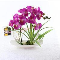 PU simulação flor iris orquídea terno high-end mobiliário de casa decoração de casamento flores artificiais bonsai