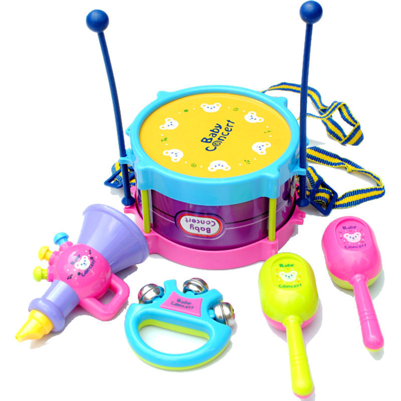 1 Set Baby Toys Baby Rattles Mobiles Kids Toys Musical Instruments Suite Drum Rattles Horn Sand Hammer Drumstick