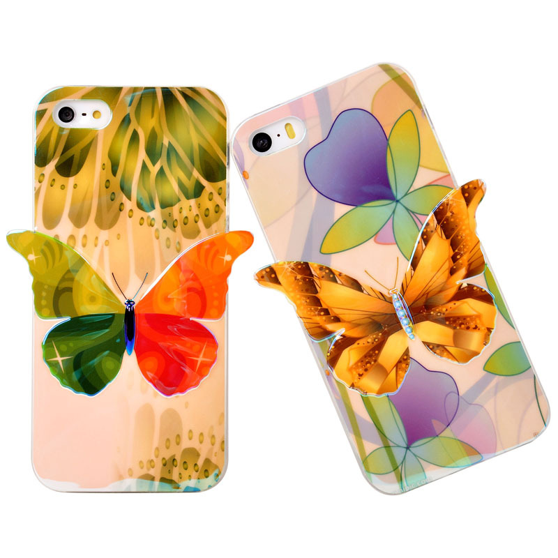 Cover Case For Apple iPhone 5s <font><b>Shine</b></font> Jelly Butterfly Design Soft Silicon TPU <font><b>Blu-ray</b></font> Protector Phone Cases For iPhone 5 5s Coque
