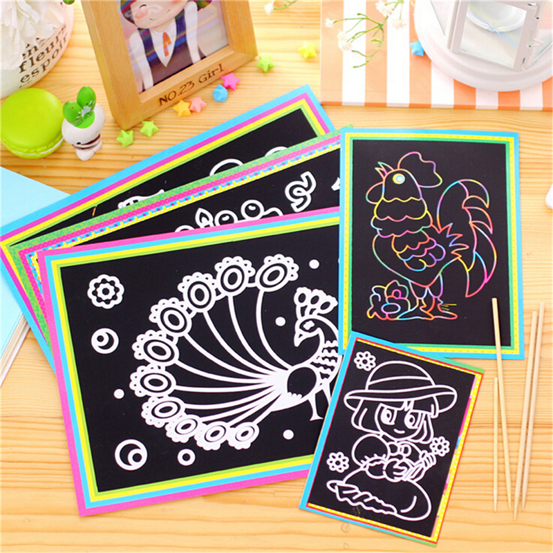 Colorful Magic Scratch Drawing Art Painting Paper Kids Educational Stick Toys 12.7cm* 17.2cm