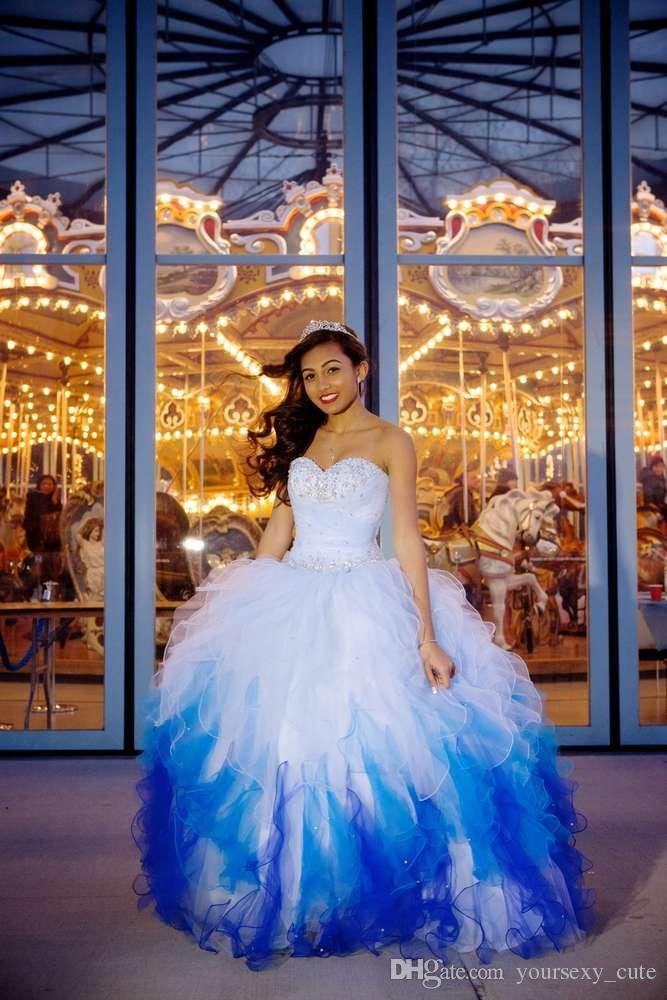 Online Get Cheap Blue and White Sweet 16 Dresses -Aliexpress.com ...
