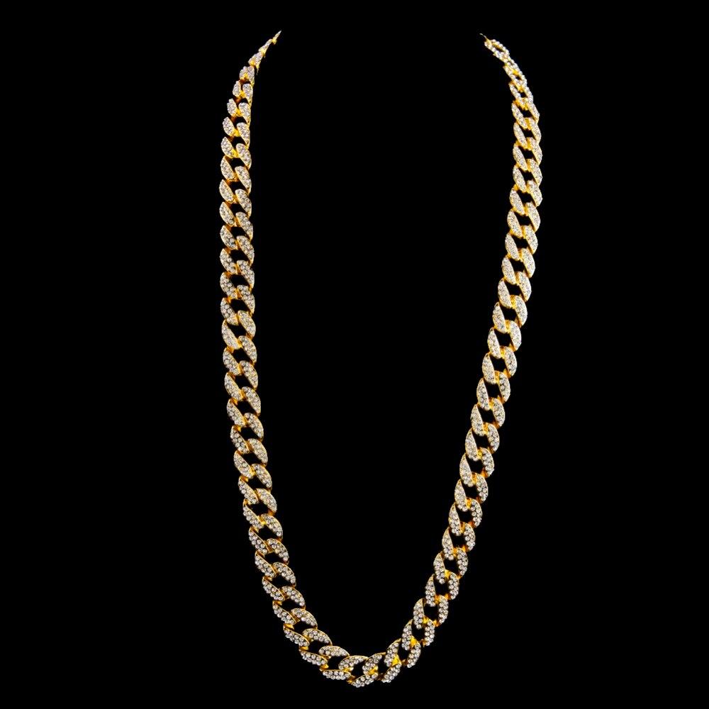 """Miami chaîne à maillons cubains couleur or entièrement glacé strass Hip Hop Bling 2016 offre spéciale 15mm 30 """"collier et 8.5"""" Bracelet-in Parures de bijoux from Bijoux et Accessoires    3"""