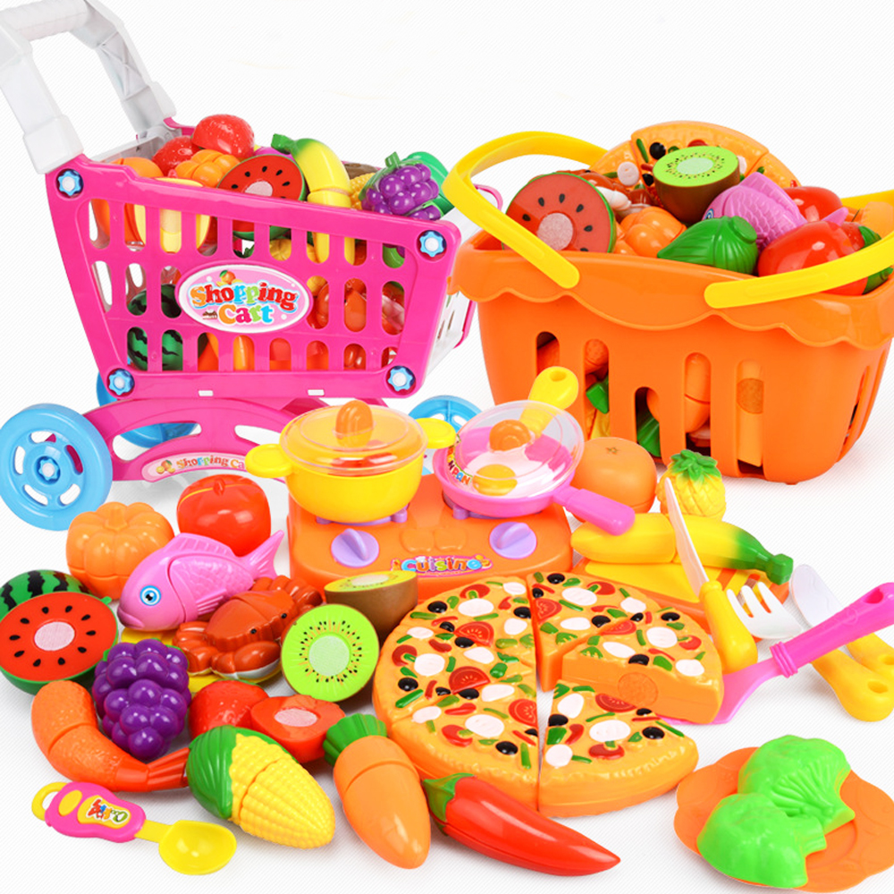 12-60pcs Baby Cake Toys Kitchen Food Pretend Play Cutting Fruit Vegetable Food Toys Simulation Kitchen Kit Tools For Children