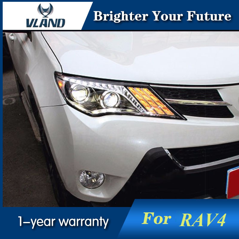 Head Lights For TOYOTA RAV4 2013 2014 2015 LED Strip Headlights Lamps Bi Xenon Projector Lens led strip headlights front lamps fit for toyota corolla altis 2014 2015 2016 head lamps with turn signal lamps