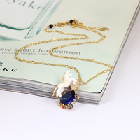 New Pattern Enamel Glaze Dream The White Horse Unicorn Blue Crystal Necklace Electroplate 18K Gold