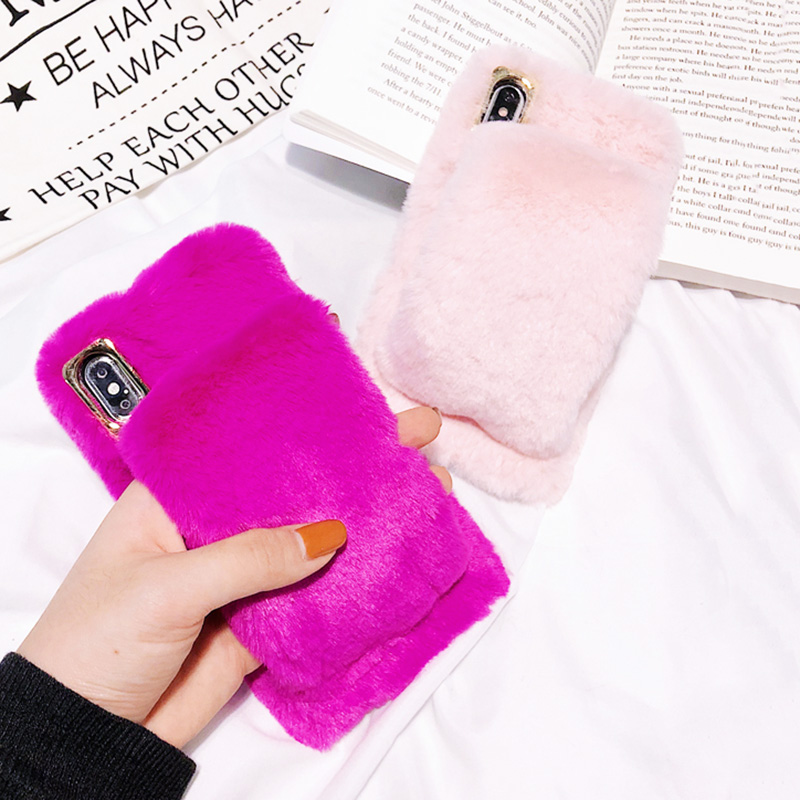 KIPX1036_12_For iPhone 7 8 Hairy Warm Phone Cover for iPhone XS XR 5S SE 6S 7P 8 Plus Plush Hand Warmer Soft Case
