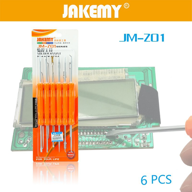 JAKEMY 6 in 1 Professional Soldering Assist Repair Tool Set for Household Electric Iron Auxiliary Tool Set Kit