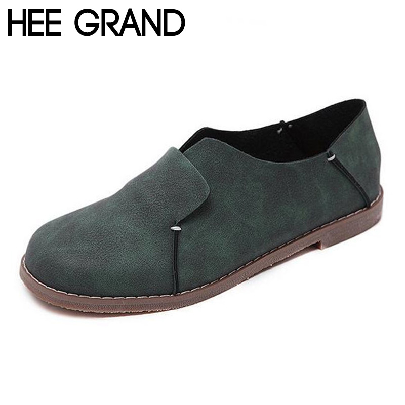 HEE GRAND Woman Flats 2017 Vintage Soft Sole Top PU Leather Slip on Shoes Woman Casual Flat Slides Loafers Women XWD5485 vintage embroidery women flats chinese floral canvas embroidered shoes national old beijing cloth single dance soft flats
