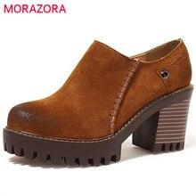 Morazora/2017 г. корова кожаная обувь на платформе женские туфли-лодочки Большие размеры 34–43 обувь на высоком каблуке с круглым носком на молнии модные классические