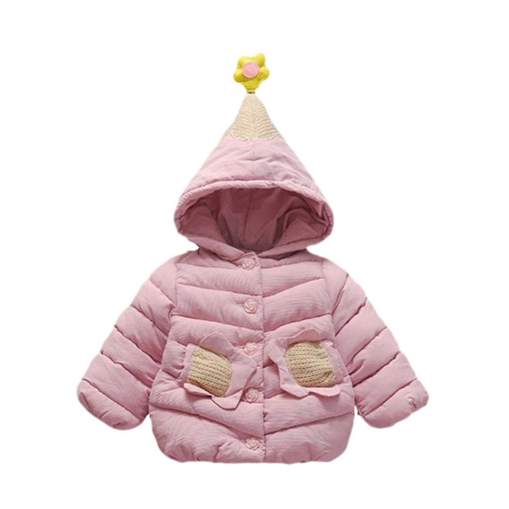 Daddy Chen Winter Girl Jacket Flower Hat Baby Long Sleeve Snow Wear Hooded Outerwear Coat Kid Warm Thick Cotton Children Clothes sundae ange baby parka winter coats long sleeve polyester girl winter coat hooded cotton cartoo outerwear down jacket clothes