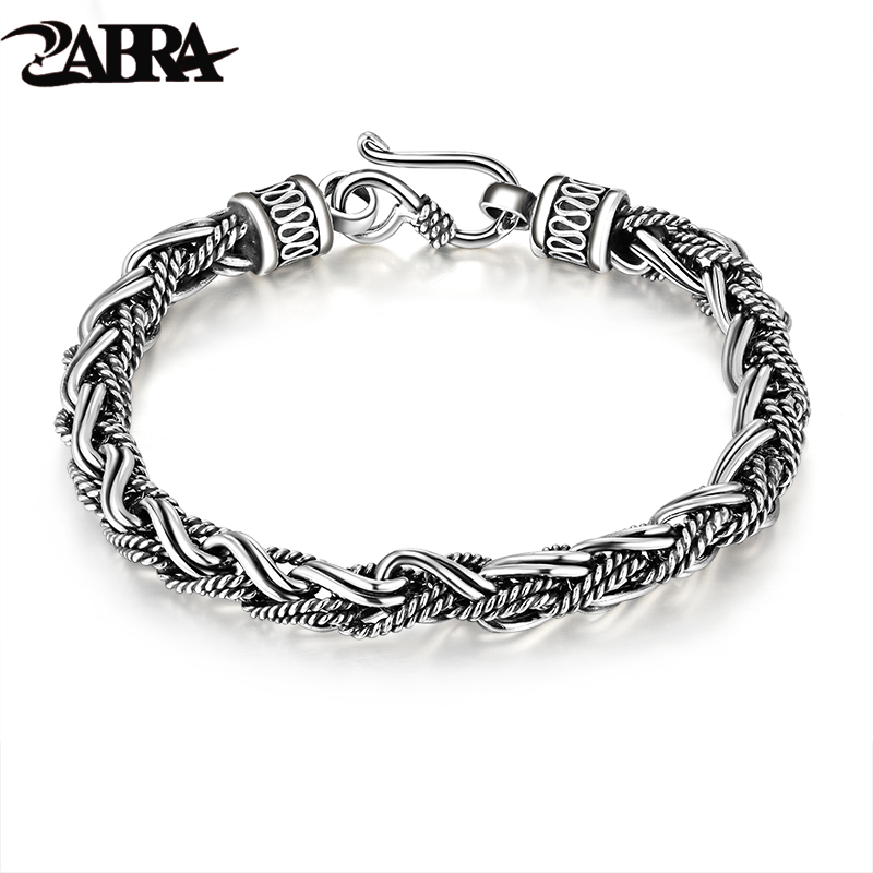 925 Silver Rope Twisted Bracelet for Punk Fashion Male Thai Vintage 100 Sterling Silver Bracelet Bangle