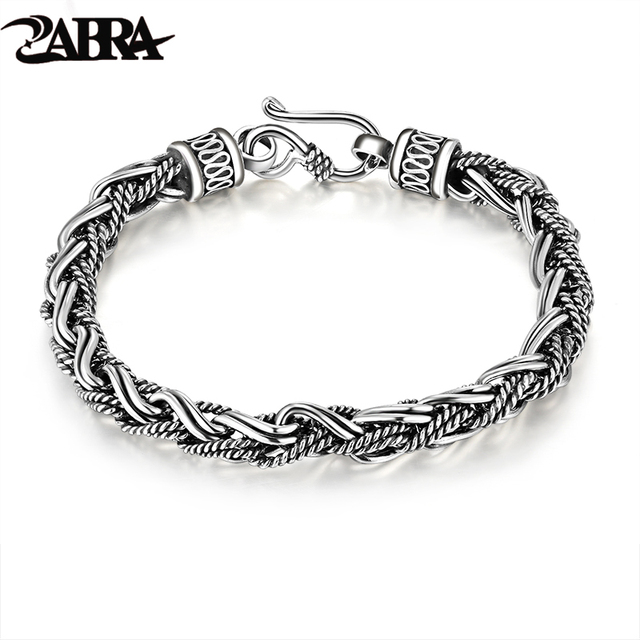 925 Silver Rope Twisted Bracelet For Punk Fashion Male Thai Vintage 100 Sterling