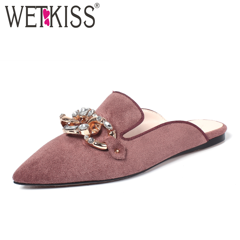 WETKISS Size 34-39 Nubuck Leather Fashion Women Pointed toe Mules Shoes Kid Suede Metal Decoration Summer Flats Women Shoes meotina brand design mules shoes 2017 women flats spring summer pointed toe kid suede flat shoes ladies slides black size 34 39