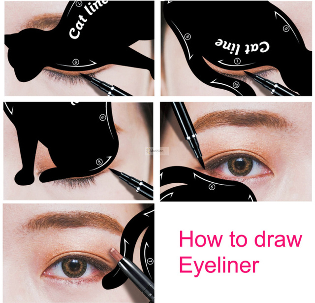 2pcs Cute Cat Eyeliner Stencil kit for eyebrows guide template Maquiagem eye shadow frames card makeup tools 4