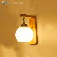 Nordic Energy Saving Wall Lights LED Wooden Lamps Living Room Dining Balcony Corridor Light Bar Coffee Shop Glass Ball Wall Lamp