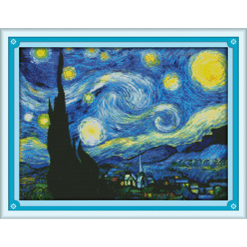 Everlasting love Christmas The Starry Night of Van Gogh Ecological cotton Cross Stitch 11CT and 14CT Printed New store sales
