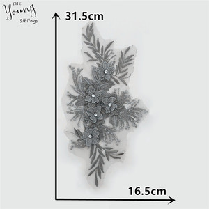 Image 2 - New arrive 3D flower Embroidery Applique Collar Rhinestone DIY Trim Sewing Neckline Lace Fabric Craft Clothing Accessories