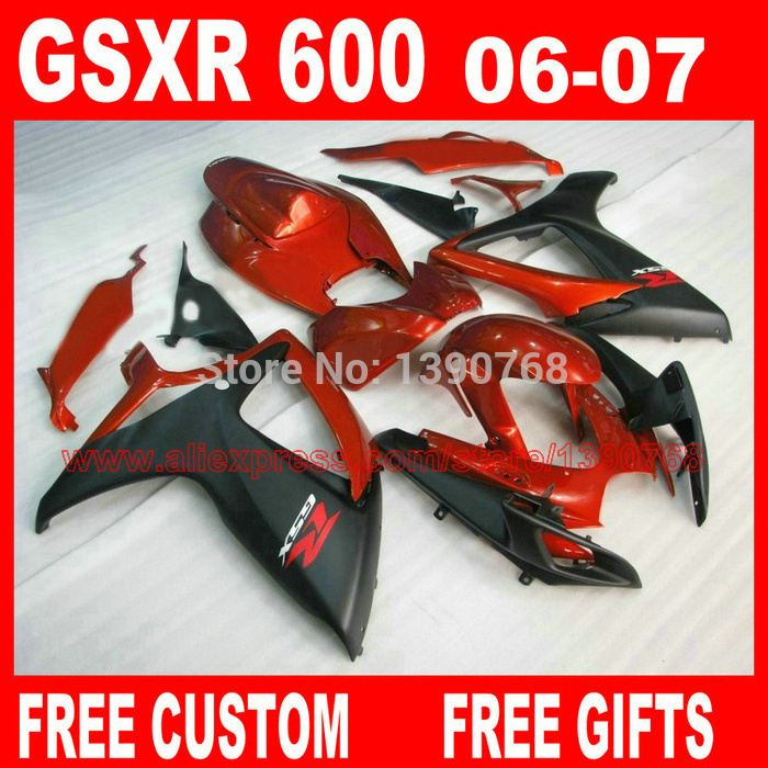 Motorcycle parts for SUZ UKI fairings GSXR600 GSXR 750 06 07 red matte black ABS fairing kit 2006 2007 gsxr600 gsxr750 K6 BH84 aftermarket free shipping motorcycle parts eliminator tidy tail for 2006 2007 2008 fz6 fazer 2007 2008b lack