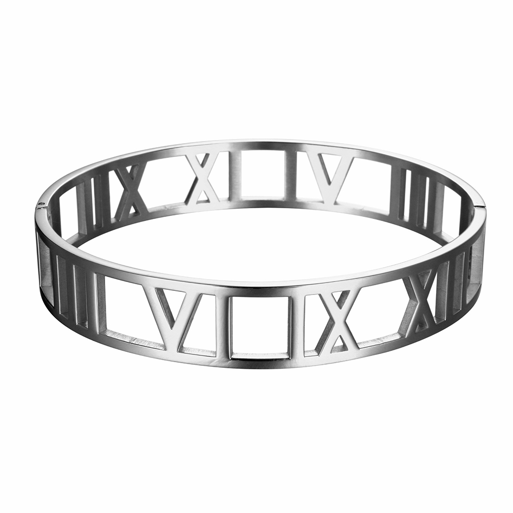 JOVO New Fashion 316L Stainless Steel Bracelets for Women Roman Number Design Wide Cuff Bracelets & Bangle Female Wedding Gift 9