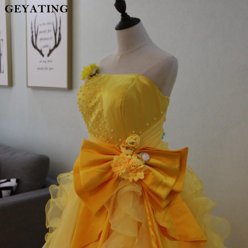 Yellow Sweet 16 Princess Quinceanera Dresses Puffy Ball Gowns Strapless Flower Bow Masquerade Party Dresses 2018 Vestido 15 anos