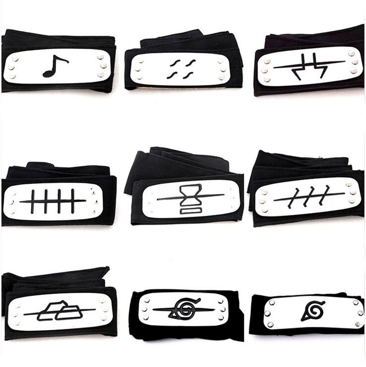 Uzumaki Naruto Cosplay Headband Leaf Village Black Blue Red Set For Pain Hatake Kakashi Gaara Headband