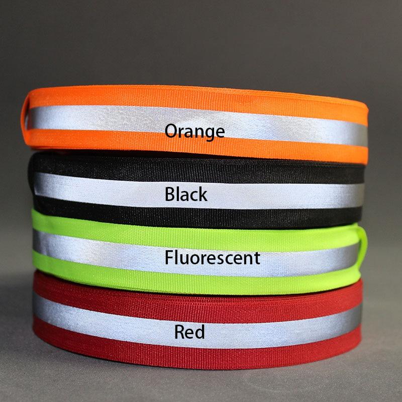 50 Meter, 2.5cm*1cm Width ,Fluorescent Reflection Fabric Ribbon Webbing Strip Edging Braid Trim Sew On Garment Accessories