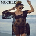 MCCKLE Women Beach Dress Sexy Strap Sheer Floral Lace Off the Shoulder 2017 Summer Mini Ladies Hippie Boho Dresses