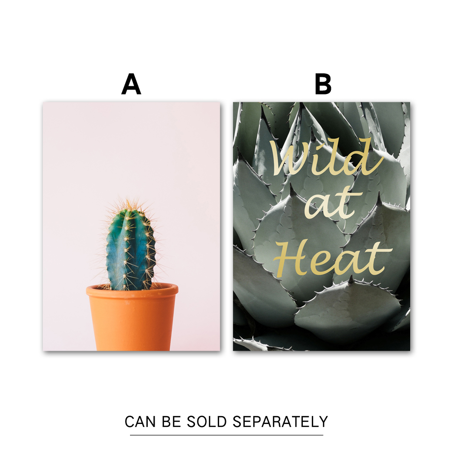 US $3 6 37% OFF|Green Cactus Quotes Nordic Poster Wall Art Canvas Painting  Posters And Prints Pop Art Plant Wall Pictures For Living Room Decor-in