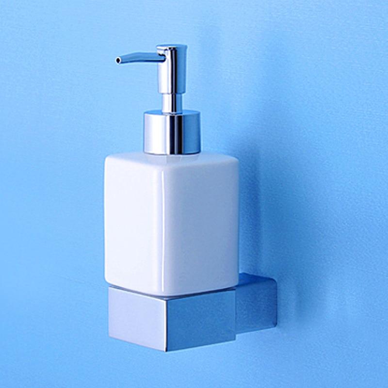 Chrome Liquid Soap Dispenser Holder Vintage Brass Wall Mounted Bathroom Accessories Ceramic Bath Foam Shower Soap Dispenser Pump