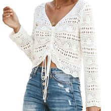 2019 Women Crochet Floral Shirt Hollow Out Mesh Long Sleeve Shirt Tops Bikini Cover-up Crop Tops long sleeve crochet panel cover up